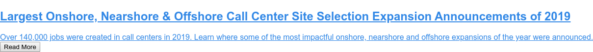 Top 20 Largest Call Centers in the United States  Site Selection Group identifies the 20 largest call center and back office  operations in the United States. Read More